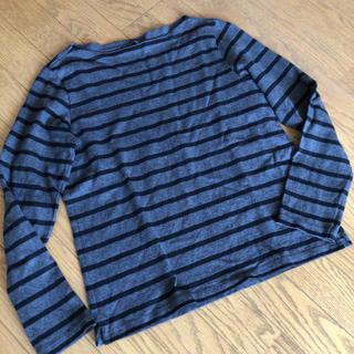 ユニクロ(UNIQLO)のUNIQLOボーダーボートネックTシャツ M(Tシャツ(長袖/七分))