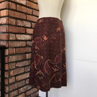 アクアスキュータム(AQUA SCUTUM)の美品 アクアスキュータム ロングスカート シルク 9号 ペイズリー柄/ブラウン系(ロングスカート)