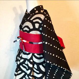 ◼︎110~120*フレア浴衣&リバーシブル帯+帯リボン(甚平/浴衣)