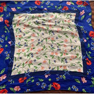ティファニー(Tiffany & Co.)のティファニー 大判花柄シルクスカーフ 🧣 未使用(バンダナ/スカーフ)