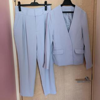 ジーユー(GU)のハイウエストパンツスーツ ブルー(スーツ)