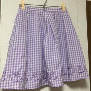 フィント(F i.n.t)のfintギンガムチェックローズ刺繍スカート(ミニスカート)