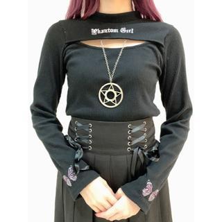 アンクルージュ(Ank Rouge)の♡Jamie エーエヌケー ロゴ刺繍テレコTOPS ブラック(Tシャツ(長袖/七分))