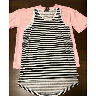 スピンズ(SPINNS)のピンクandシマシマタンクトップ(Tシャツ/カットソー(半袖/袖なし))