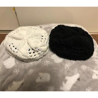 ジーユー(GU)のぽぷら様専用 サマーニット帽 白黒セット(ニット帽/ビーニー)