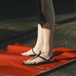 ヤエカ(YAECA)の新品未使用 beautiful shoes サンダル ブラック 24.5 25(サンダル)