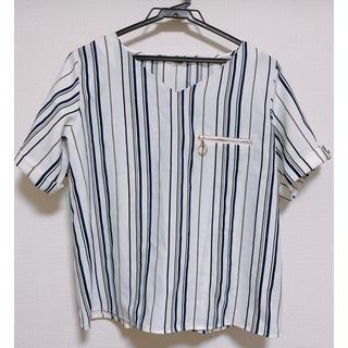 シマムラ(しまむら)のしまむら 新品 ストライプ トップス ブラウス(シャツ/ブラウス(半袖/袖なし))