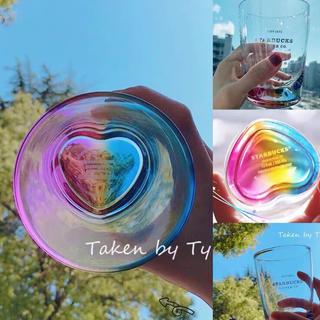 スターバックスコーヒー(Starbucks Coffee)のインスタ映え!ハート型 台湾スターバックス グラス 虹色 レインボー マグカップ(タンブラー)