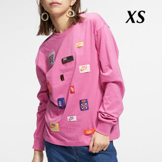 ナイキ(NIKE)の新品 NIKE ナイキ トップス 長袖 Tシャツ カットソー XS ピンク(Tシャツ(長袖/七分))