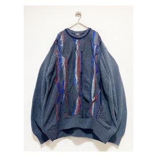 クージー(COOGI)の春仕様 vintage 90s イタリア 3D編み 総柄 グレー ニットセーター(ニット/セーター)