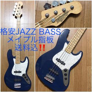 格安JAZZ BASS送料込ジャズベースギター音出し確認済メイプル指板ネイビー紺(エレキベース)