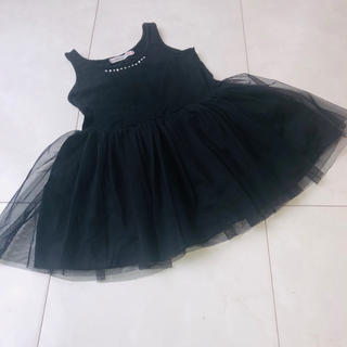 アニカ(annika)の韓国子供服 チュールワンピース ブラックドレス(ワンピース)