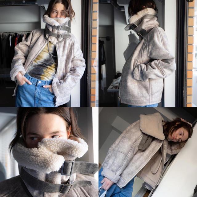 MM6(エムエムシックス)のperverze wide collar mouton coat 試着のみ レディースのジャケット/アウター(ムートンコート)の商品写真