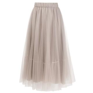 ファビアナフィリッピ ボリュームチュールスカート ピンクベージュIT42(ロングスカート)