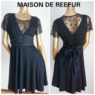 メゾンドリーファー(Maison de Reefur)のMAISON DE REEFUR レース半袖 膝丈ワンピース 38 (ひざ丈ワンピース)