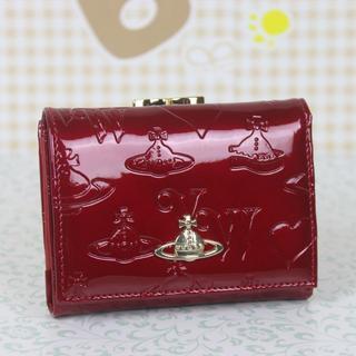 ヴィヴィアンウエストウッド(Vivienne Westwood)のヴィアンウエストウッド 折財布 がま口財布 エナメル ワインレッド(財布)