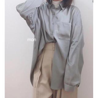 ジーユー♡シアーオーバーサイズシャツ♡グリーンXXL(シャツ/ブラウス(長袖/七分))