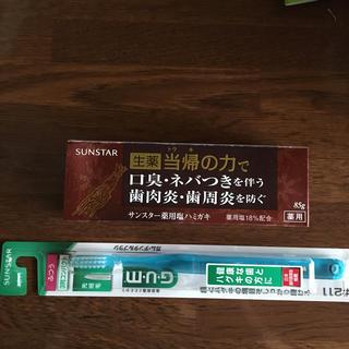 サンスター(SUNSTAR)のサンスター 薬用塩サハミガキ85g・ハブラシ(歯磨き粉)