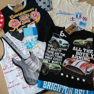 新品!100㎝ 男の子 まとめ売り アメカジ ロック 車柄 重ね着風 半袖セット(Tシャツ/カットソー)