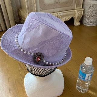 アンジェリックプリティー(Angelic Pretty)の新品 ラベンダー レース✖️パール キラキラブローチ付 ハット 帽子(ハット)