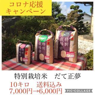 コロナ応援キャンペーン!!もっちり党に大人気✼宮城県特別栽培だて正夢10キロ(米/穀物)
