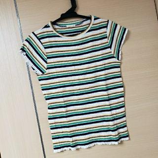 ジーユー(GU)の美品 GU 子供 女の子 マルチボーダー Tシャツ 150cm(Tシャツ/カットソー)