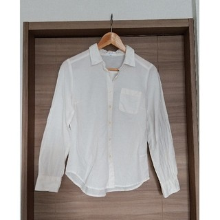 ニッセン(ニッセン)の【リネン入り長袖コットンシャツ】Sサイズ オフホワイト(シャツ/ブラウス(長袖/七分))