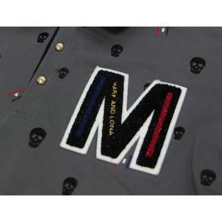 マークアンドロナ(MARK&LONA)のMARC&LONA マーク&ロナ 濃グレーでスカル刺繍入りの半袖ポロシャツ XL(ウエア)