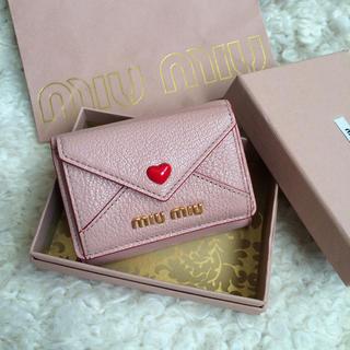 ミュウミュウ(miumiu)のmiumiu マドラスラブ ラブレター三つ折財布(財布)