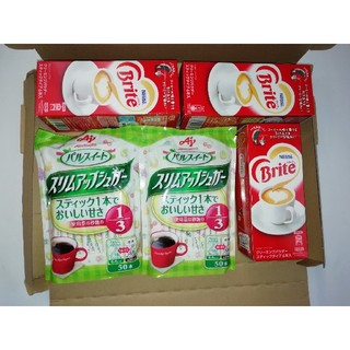 アジノモト(味の素)の味の素パルスィートスリムアップシュガー50本入り2袋、ブライト6本入り3箱(コーヒー)