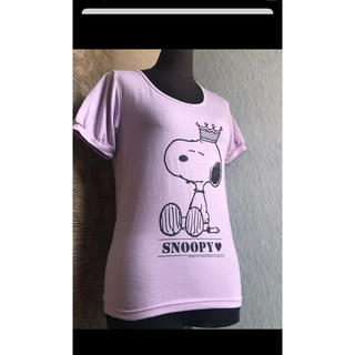 スヌーピー(SNOOPY)のSNOOPY  可愛い 薄パープル 半袖 キラキラ王冠飾り付き   Mサイズ(ゲームキャラクター)
