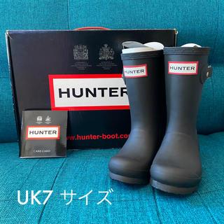ハンター(HUNTER)のHUNTER レインブーツ キッズ ブラック UK7サイズ 新品未使用(長靴/レインシューズ)