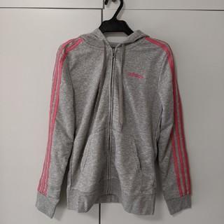 アディダス(adidas)のアディダス パーカー グレー ピンク XL(パーカー)