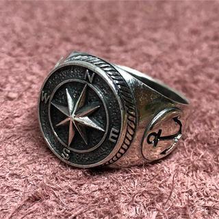 コンパス シルバー925リング 方位磁針 お守り 羅針盤 交通安全 銀指輪ビッグ(リング(指輪))