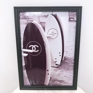 217 ハガキサイズ2枚 サーフボード アートポスター シャネル フォトフレーム(ポスターフレーム)