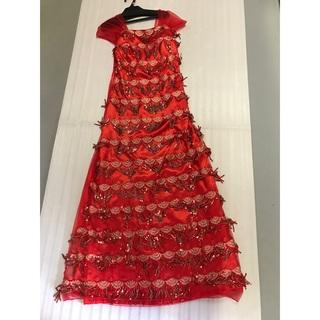 上質新品◆大きいサイズ◆演奏会パーティ司会◆舞台映え◆フリンジスパンロングドレス(ロングドレス)