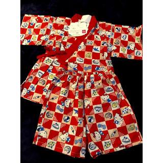 サンリオ(サンリオ)のハローキティ 甚平 赤 80(甚平/浴衣)