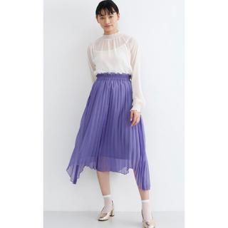 メルロー(merlot)のmerlot plus ラメプリーツアシメヘムスカート 紫 新品未使用(ミディアムドレス)