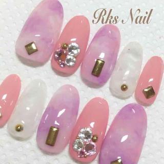 艶ジェル ピンク紫マーブル貝殻ネイル