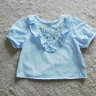 ナルミヤ インターナショナル(NARUMIYA INTERNATIONAL)のPupil Houseストライプお花刺繍ブラウス80(Tシャツ)