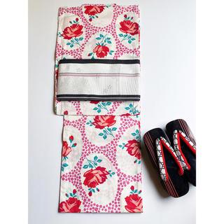キスミス(Xmiss)の新品 キスミスブランド 高級浴衣 綿紅梅★バラ 白赤緑ピンク アンティーク調(浴衣)