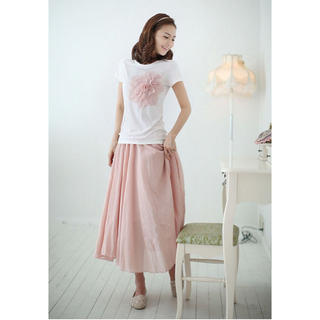 きれい色と涼しげな風合いが魅力のコットンリネンロングスカートです♪(ロングスカート)