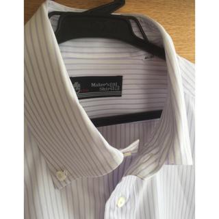 カミチャニスタ(CAMICIANISTA)の鎌倉シャツ ドレスシャツラベンダーストライプ ボタンダウン クールビズ パープル(シャツ)