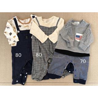 プティマイン(petit main)の長袖ロンパース 70 80(ロンパース)