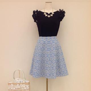 トッカ(TOCCA)のTOCCA  スカート  0  S  CORN FLOWER  刺繍  ブルー(ひざ丈スカート)