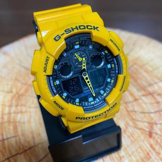 ジーショック(G-SHOCK)の美品 G-SHOCK GA-100A イエロー 電池新品 CASIO(腕時計(デジタル))