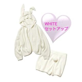 新品 ジェラートピケ bunny フェザーフードカーディガン&パンツ タグ付き