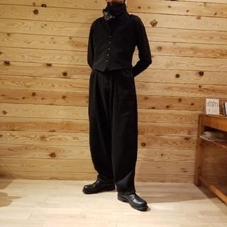 ヨウジヤマモト(Yohji Yamamoto)のヨウジオム 白ステッチ 超ワイド紐パンツ サイズ6 ブラック ビッグサイズ(ワークパンツ/カーゴパンツ)