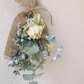 白バラとユーカリのミニブーケ(ドライフラワー)