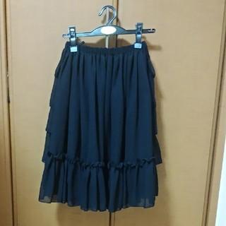 ヴィクトリアンメイデン(Victorian maiden)のVictorian maiden フリルシフォンアンダースカート 黒(ひざ丈スカート)